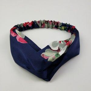 SALE! Wide Navy Floral Print Turban Style Headband